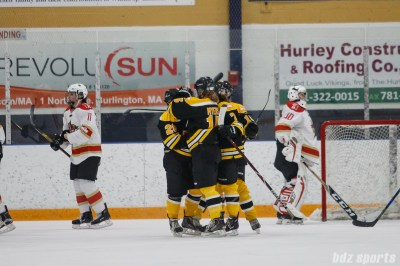 The Boston Blades celebrate the opening goal by Kate Leary (28)
