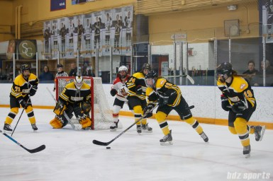 Boston Blades forward Megan Myers (15) with the puck