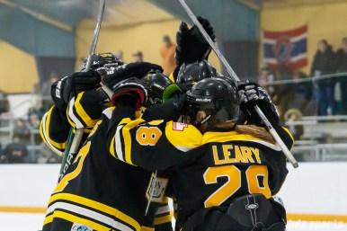 The Boston Blades celebrate their third goal of the game