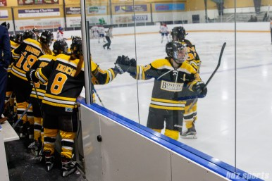 Boston Blades forward Melissa Bizzari (23) high fives the bench after scoring the game's opening goal