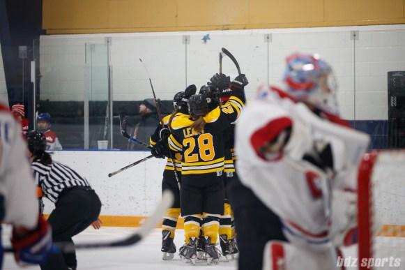 The Boston Blades celebrate forward Taylor Wasylk's (19) goal, Boston's fourth goal of the game