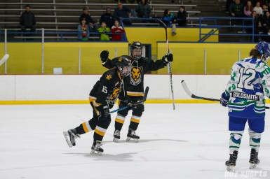 Boston Pride forward Sydney Daniels (19) reacts after teammate Emily Field (15) scores the Pride's third goal of the game