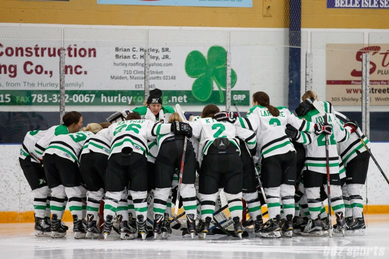 The Markham Thunder huddle before the start of the game