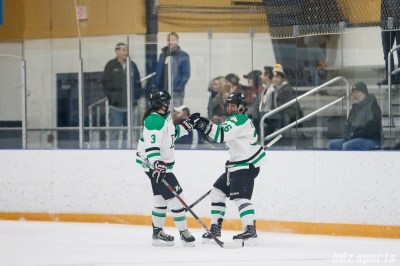 Markham Thunder forward Jamie Lee Rattray (26) celebrates her goal with a fist bump with teammate Jocelyne Laroque (3)