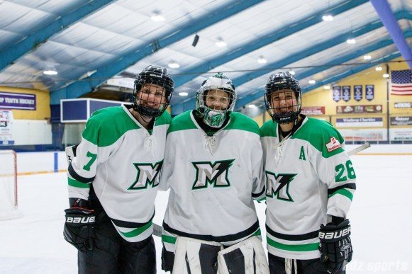 Markham Thunder players Laura Stacey (7), Erica Howe (27), and Jamie Lee Rattray (26) are the Three Stars recipients of the game