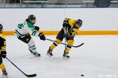 Boston Blades defender Kristina Brown (24) dishes off a pass while being defended by Markham Thunder center Karolina Urban (96)