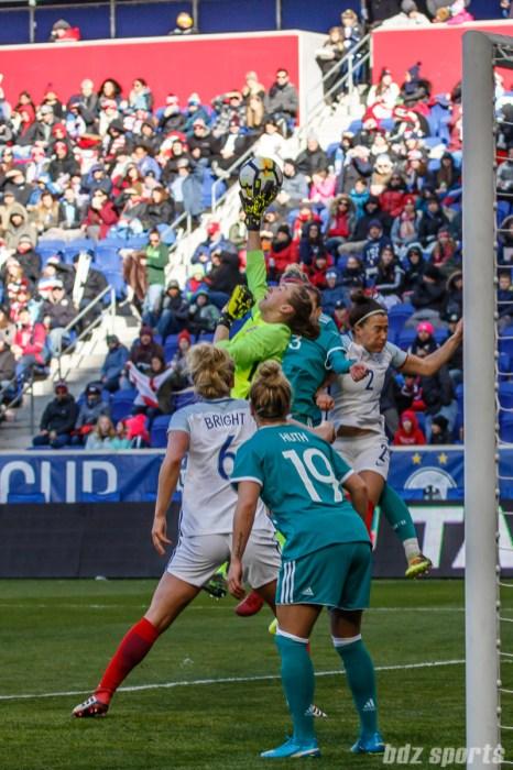 Team England goalie Siobhan Chamberlain (13) pushes the ball away from danger