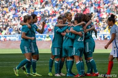 Team Germany celebrates forward Hasret Kayikci's (23) goal
