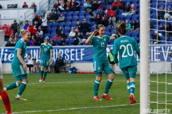 Team Germany midfielder Sara Dabritz (13) celebrates teammate Lina Magull's (20) goal