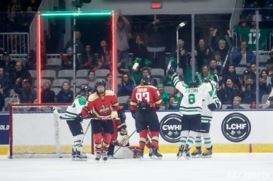 Markham Thunder defender Laura Fortino (8) celebrate teammate Nicole Brown's (17) goal in the first period of the 2018 Clarkson Cup Final