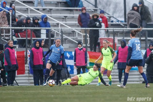 Sky Blue FC forward Janine Beckie (12) and Seattle Reign FC forward Jodie Taylor (14)