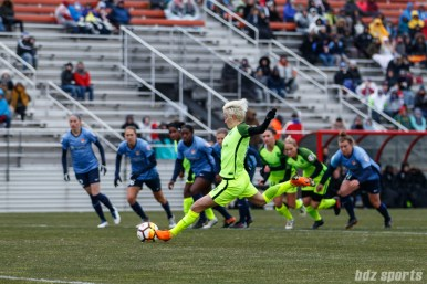 Seattle Reign FC forward Megan Rapinoe (15) takes a penalty kick in the first half