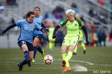Sky Blue FC defender Christina Gibbons (31) and Seattle Reign FC forward Megan Rapinoe (15)