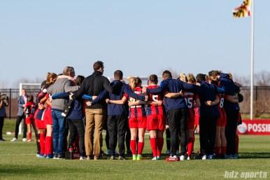 Th Washington Spirit huddle post-game