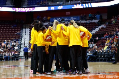 The Los Angeles Sparks huddle before their preseason game against the Connecticut Sun