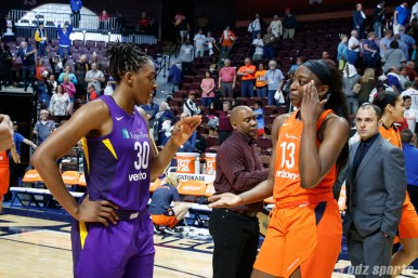 Sisters Los Angeles Sparks forward Nneka Ogwumike (30) and Connecticut Sun forward Chiney Ogwumike (13)