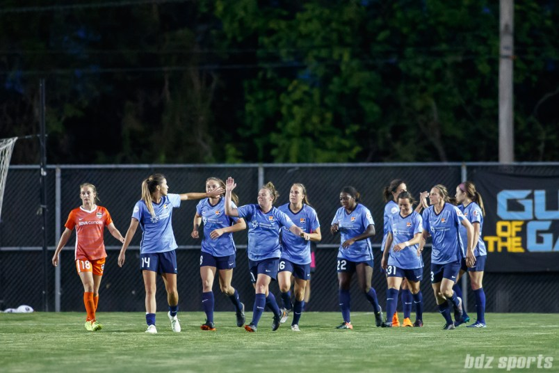 Sky Blue FC celebrates the equalizer