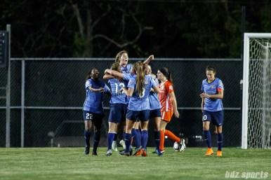 Sky Blue FC celebrates forward Katie Johnson's (14) second equalizer