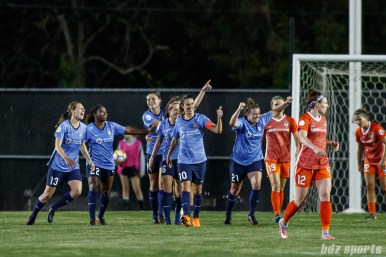Sky Blue FC celebrates tying the game at 2-2