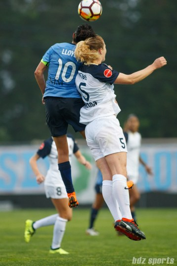 Sky Blue FC midfielder Carli Lloyd (10) and North Carolina Courage midfielder Samantha Mewis (5)