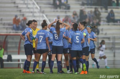 Sky Blue FC huddles before the start of the second half