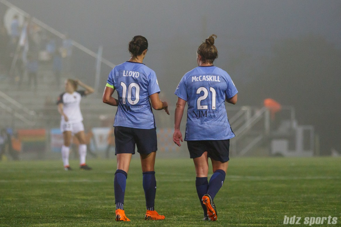 Sky Blue FC midfielder Carli Lloyd (10) and Sky Blue FC forward Savannah McCaskill (21)