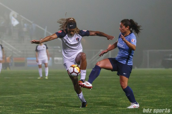 North Carolina Courage forward Jessica McDonald (14) and Sky Blue FC midfielder Raquel Rodriguez (11)
