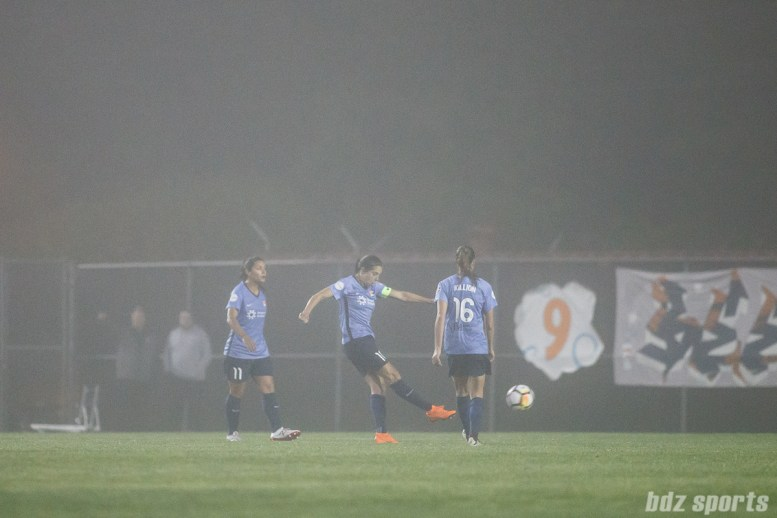 Sky Blue FC midfielder Carli Lloyd (10) takes a direct kick that finds the back of the net for Sky Blue's lone goal of the game