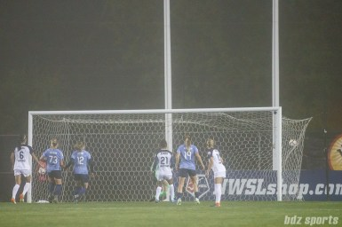 Sky Blue FC midfielder Carli Lloyd's (not pictured) free kick finds the back of the net