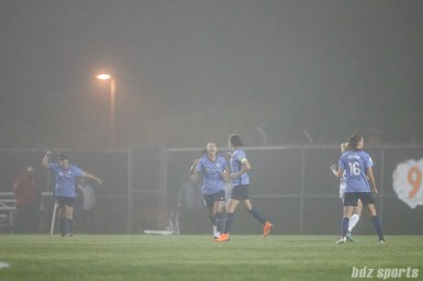 Sky Blue FC celebrates midfielder Carli Lloyd's (10) goal in the 90th+ minute