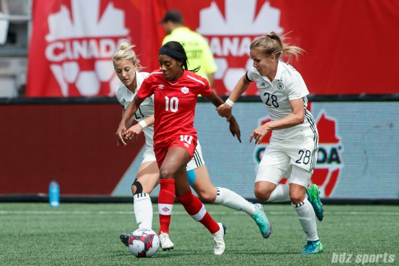 Team Canada midfielder Ashley Lawrence (10)