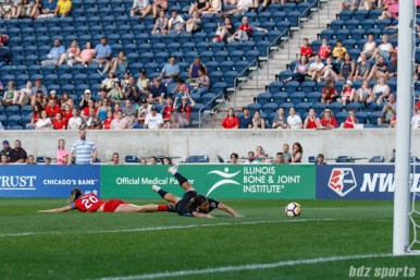 Chicago Red Stars forward Sam Kerr (20) draws a foul in the box