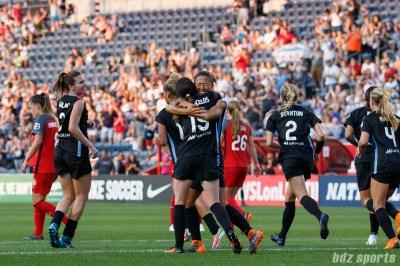 Chicago Red Stars midfielder Michele Vasconcelos (15) congratulates teammate Yuki Nagasato (12) on her goal