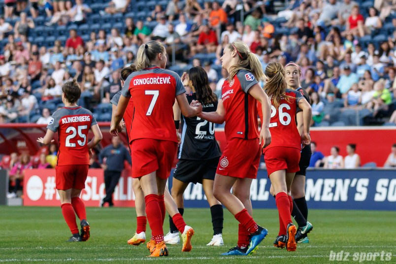Portland Thorns players Ana-Maria Crnogorcevic (7) and Lindsey Horan (10)