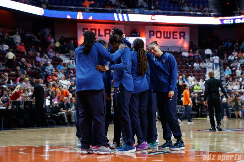 The Minnesota Lynx huddle before the start of their game against the Connecticut Sun