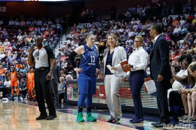 Minnesota Lynx guard Lindsay Whalen (13) and coach Cheryl Reeves