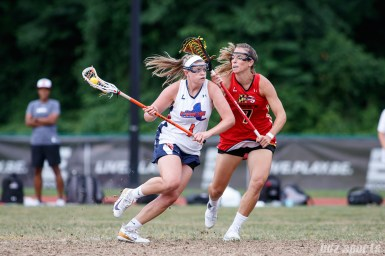 Upstate Pride midfielder Haley Warden (1) and Baltimore Brave midfielder Amanda Johansen (7)