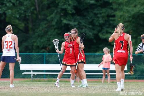 Baltimore Brave players Laura Zimmerman (1) and Alyssa Leonard (2)