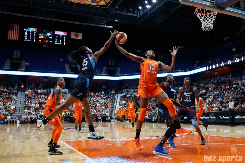 Atlanta Dream guard Tiffany Hayes (15) and Connecticut Sun forward Chiney Ogwumike (13)