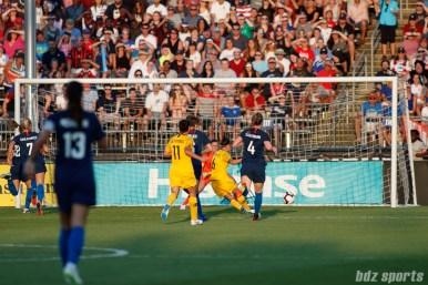 Team Australia midfielder Chloe Logarzo (6) scores in the first half to put Australia up 1 - 0