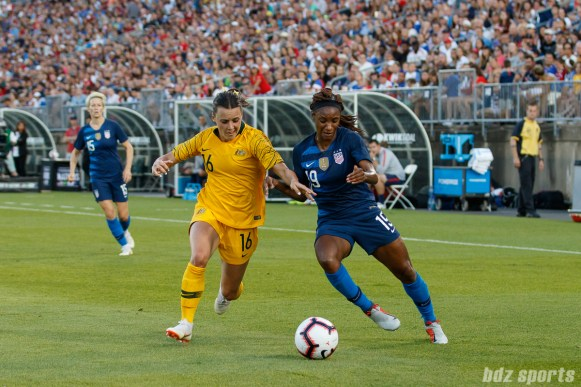 Team Australia forward Hayley Raso (16) and Team USA forward Crystal Dunn (19)