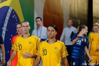 Team Australia midfielder Emily Van Egmond (10) and forward Sam Kerr (20)