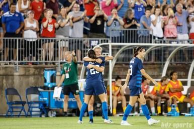 Team USA forward Christen Press (23) and Team USA midfielder Lindsey Horan (9)