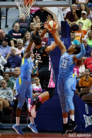 Connecticut Sun forward Alyssa Thomas (25) and Chicago Sky forward Cheyenne Parker (32)