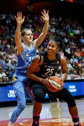 Connecticut Sun forward Alyssa Thomas (25) and Chicago Sky guard Allie Quigley (14)