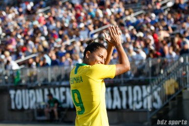 Team Brazil midfielder Debinha (9)