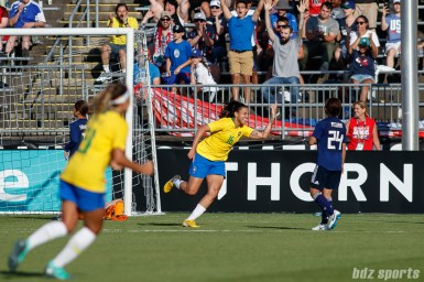 Team Brazil forward Beatriz (16) reacts after scoring Brazil's second goal of the game