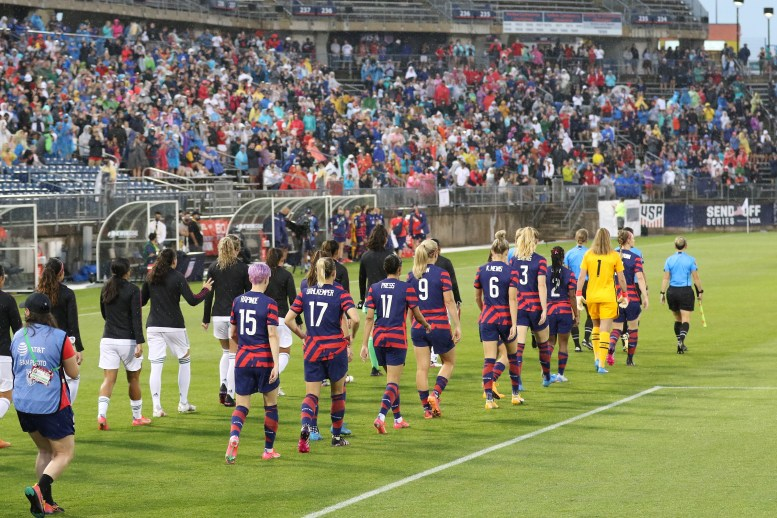 The USWNT and Mexico starting eleven walk onto the field in the first of two 2021 WNT Send-Off Series games between the USWNT and Mexico at Rentschler Field in East Hartford, CT on July 1, 2021.
