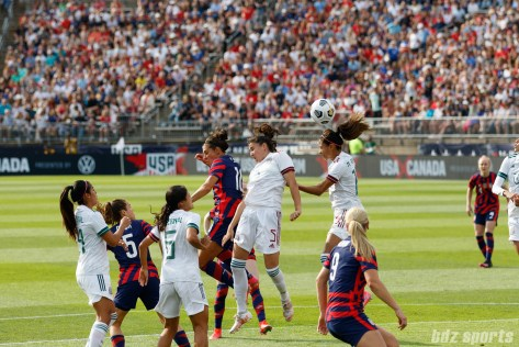 Team Mexico midfielder Nancy Antonio (16) clears away the ball in the second of two 2021 WNT Send-Off Series games between the USWNT and Mexico at Rentschler Field in East Hartford, CT on July 5, 2021.