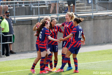 Team USA celebrates their opening goal in the second of two 2021 WNT Send-Off Series games between the USWNT and Mexico at Rentschler Field in East Hartford, CT on July 5, 2021.
